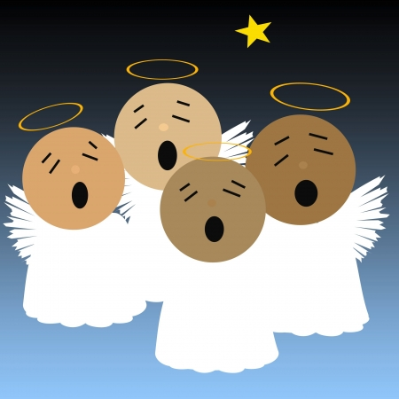 singing angels and bright star in night sky illustration illustration