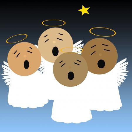 zingende engelen en heldere ster in de nacht lucht illustratie