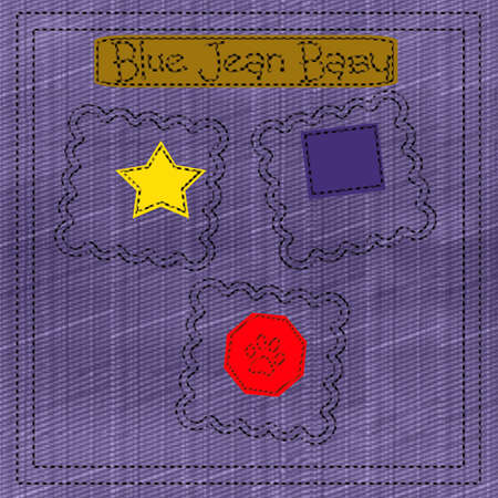 blue jean baby denim scrapbook frame illustration Stock fotó