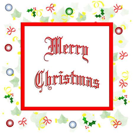 メリー クリスマス散在ホリーと弓フレームの図