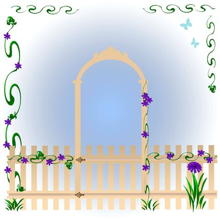 hinges: garden gate with arch and morning glories soft illustration Stock Photo