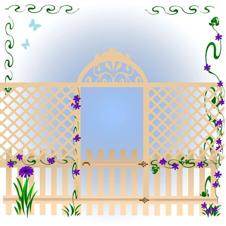 hinges:  latticed fence around morning glories soft illustration