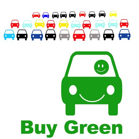 mileage: buying a green economy car sign illustration Stock Photo