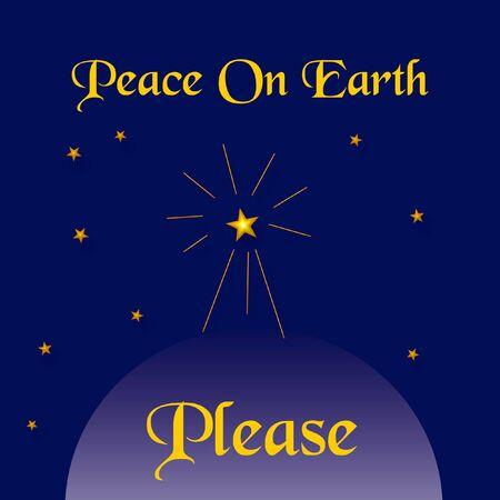 peace plea and bright star in night sky illustration Фото со стока