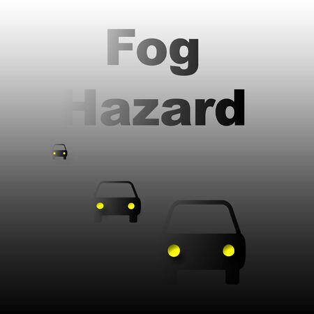 cars traveling in heavy fog poster illustration Фото со стока