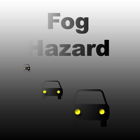 heavy: cars traveling in heavy fog poster illustration Stock Photo