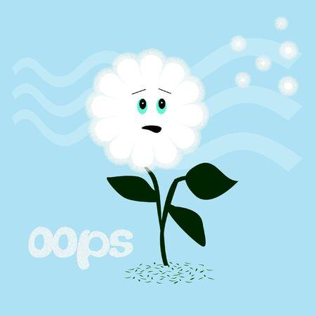 Paarde bloem oops zaden waait in de wind humoristische afbeelding Stockfoto