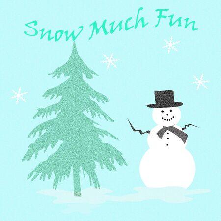 snowman and pine tree in the snow illustration Zdjęcie Seryjne
