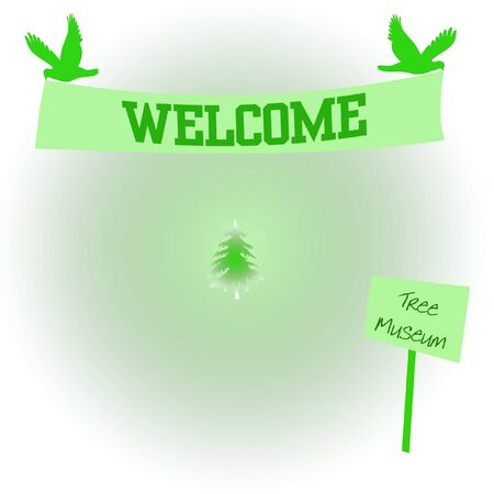 welcome banner to tree museum green illustration