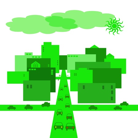 green city with traffic and buildings illustration