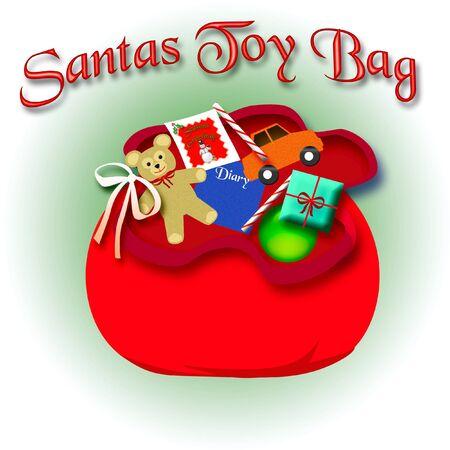 Santas red velvet gift bag with toys illustration illustration