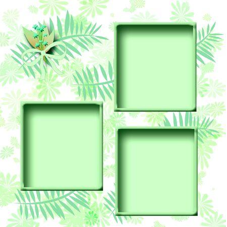 cutouts: aqua scrapbook page cutouts frames on floral illustration Stock Photo