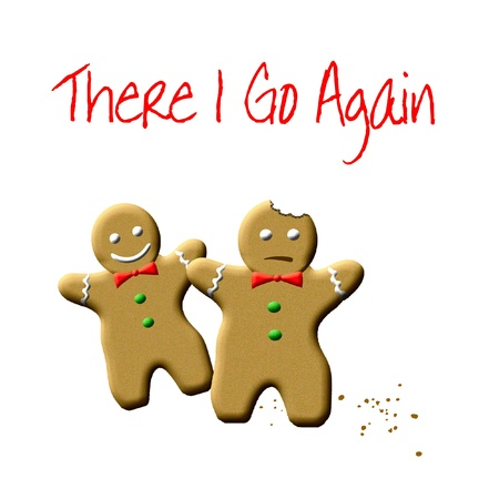 gingerbread man with missing bite humorous illustration