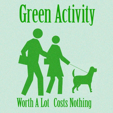 green people and dog out for a walk illustration Banco de Imagens