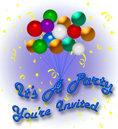 revelry: colorful balloons and confetti party invitation illustration