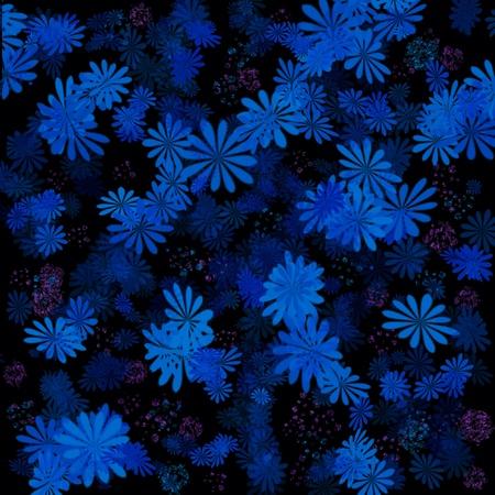 floral background indigo blue on black illustration