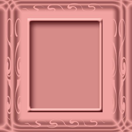beveled: beveled mauve frame on solid background illustration Stock Photo
