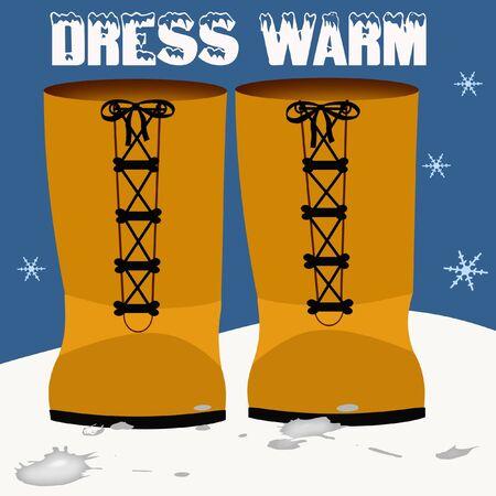 雪の図に立っている黒のレースとオレンジのブーツ
