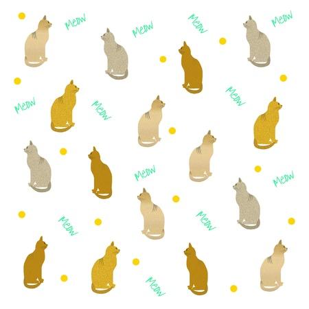 白い背景のイラストを各種猫