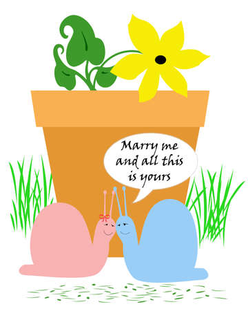 humor: blue snail proposing to  pink snail humor illustration Stock Photo