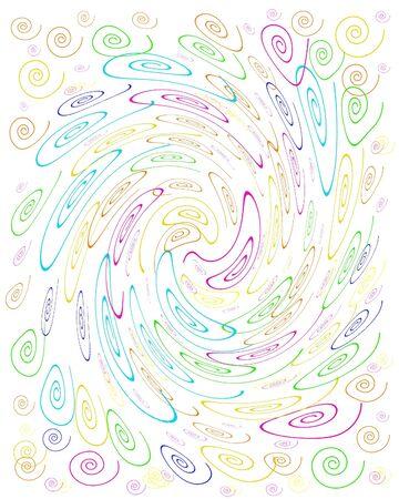 白い背景の図の渦巻き模様のカラフルなクレイジー カール 写真素材