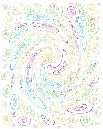 distort: colorful crazy curls swirl on white background illustration Stock Photo