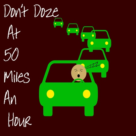 driver dozing in traffic warning poster illustration Stock Photo