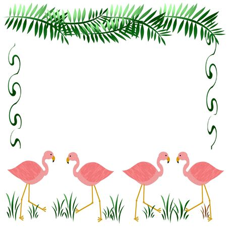 frond: pink flamingos on white with palm fronds illustration