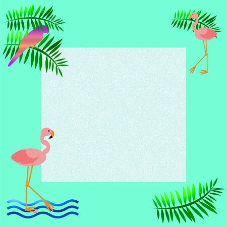 pink flamingos parrot with palm fronds illustration Stock Illustration - 8576976