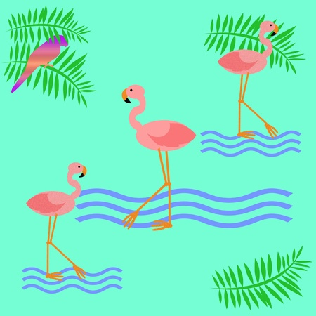 pink flamingos parrot with palm fronds illustration