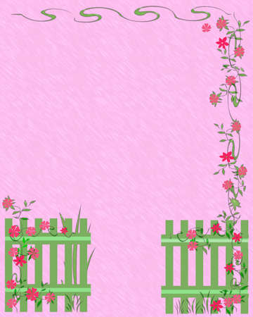 fence and flower garden scrapbook page illustration Reklamní fotografie - 8576979