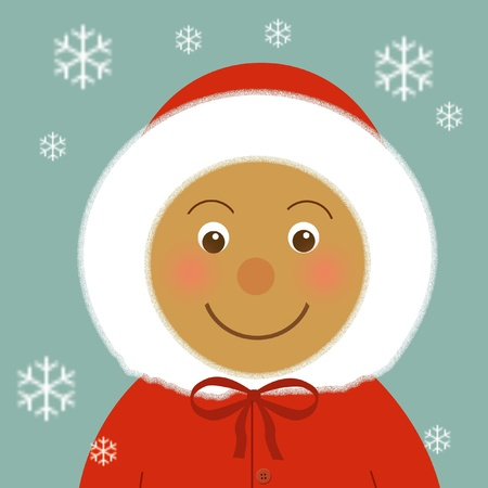 snug: childs face  in red hooded coat illustration Stock Photo