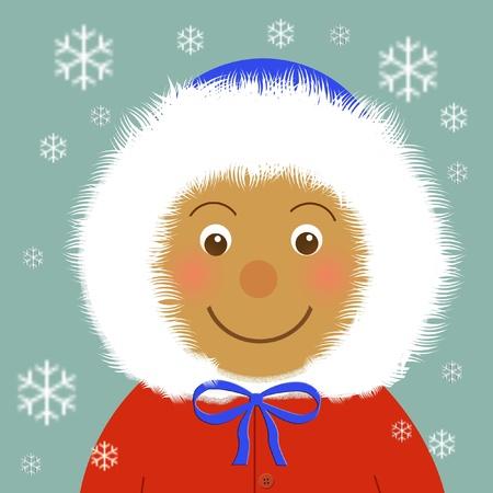 snug: smiling child in warm winter coat illustration