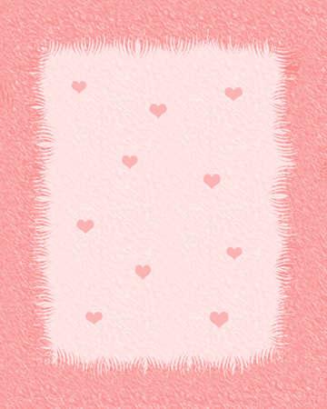 小さな心のイラストが毛皮のようなスクラップ ブックのフレーム