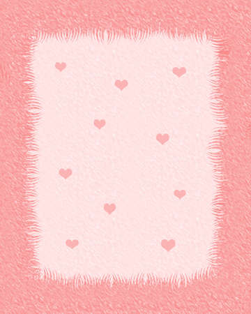 furry scrapbook frame with tiny hearts illustration