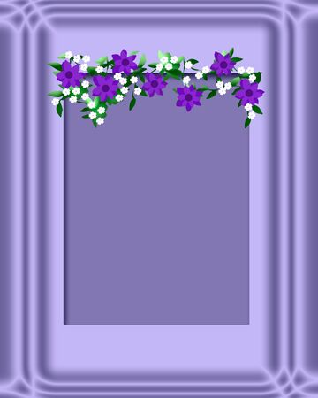 lavender frame with purple and white flowers illustration Stok Fotoğraf - 8691756