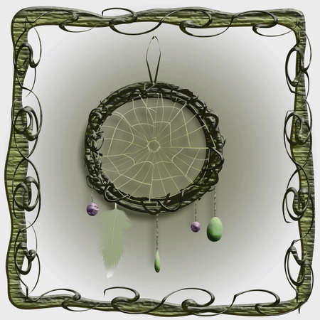 mysterious dreamcatcher illustration with stones and feather Stock Photo
