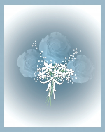 romance: soft blue roses bouquet with ribbon illustration