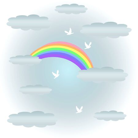 clouds: soft pastel rainbow and clouds with flying doves illustration
