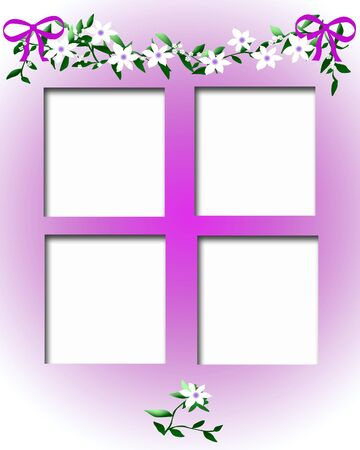 scrapbook frame white flower garland and cutouts illustration