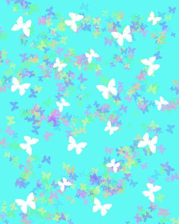 soft pastel butterflies in a blue sky illustration