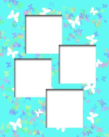 pastel frame butterflies on blue background illustration Imagens
