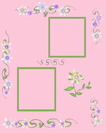 scrapbook frame flower garland and cutouts illustration Stok Fotoğraf - 8867712