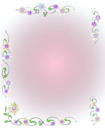 scrapbook frame flower garlands with blank center illustration Stok Fotoğraf - 8867714