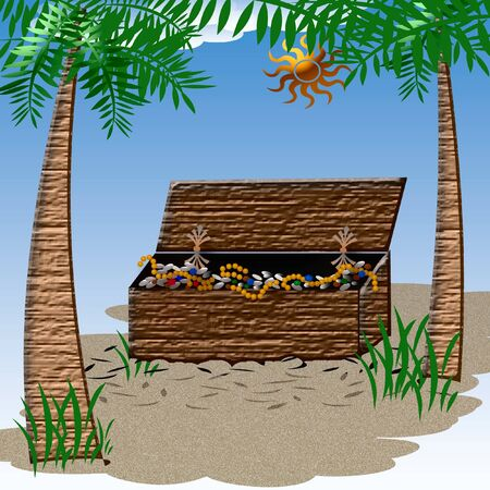 hinge: treasure chest sitting in the sand illustration Stock Photo