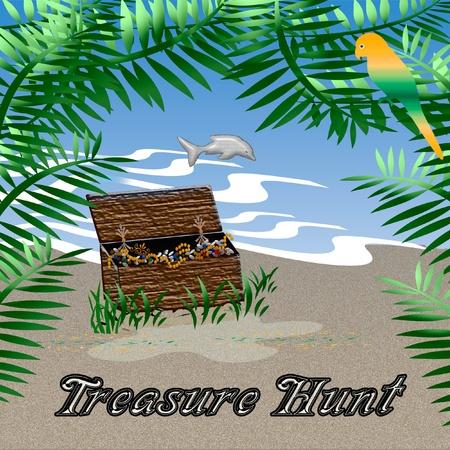 모래에 앉아 보물 상자 그림