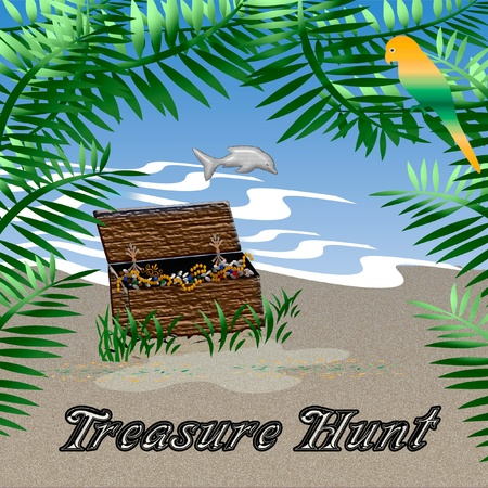 loot: treasure chest sitting in the sand illustration Stock Photo