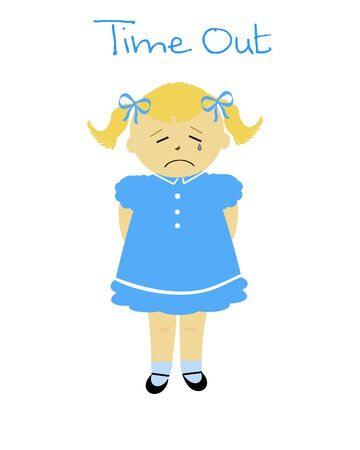 naughty little girl in time out poster illustration  Stock fotó
