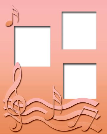 raised musical symbols on gradient background illustration Stock Illustration - 9073295