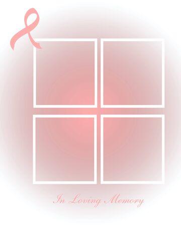 pink ribbon and frames on gradient background illustration Imagens